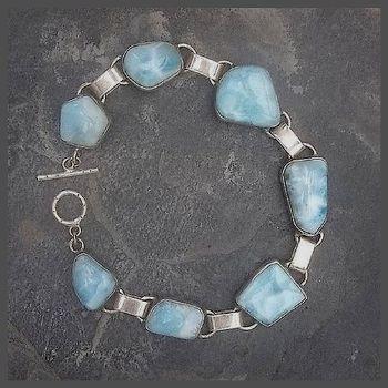 7 Stone Sterling Silver Free-form Larimar Bracelet